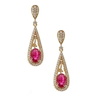 18K Yellow Gold Ruby and Diamond Earring by Anika And August - White