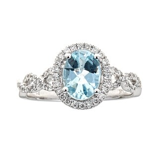 14K White Gold Aquamarine and Diamond Ring by Anika and August