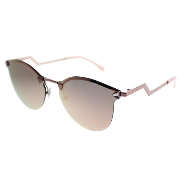 d681e1bbb924 Fendi Cat-Eye FF 0040 Iridia 35J 0J Women Pink Frame Rose Gold Mirror Lens