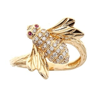 14k Yellow Gold Ruby And Diamond Ring by Anika and August - White