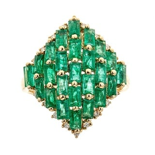18k Yellow Gold Emerald And Diamond Ring by Anika and August - White