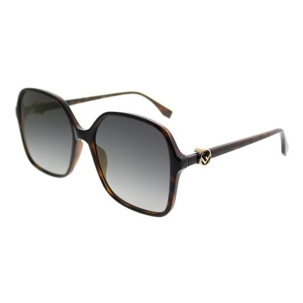 f4470d9750 Fendi Square FF 0287 F is Fendi 086 FQ Women Dark Havana Frame Gold Mirror  Lens