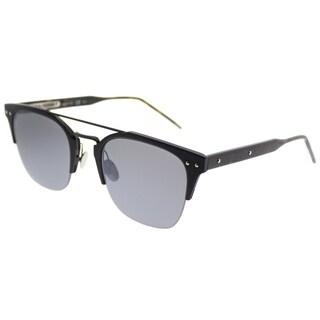 Bottega Veneta Rectangle BV 0146S 002 Unisex Blue Frame Silver Mirror Lens Sunglasses
