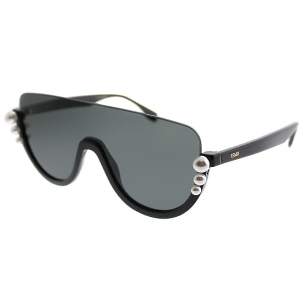 9a0790d98a Fendi Shield FF 0296 Ribbons And Pearls 807 IR Women Black Frame Grey Lens  Sunglasses