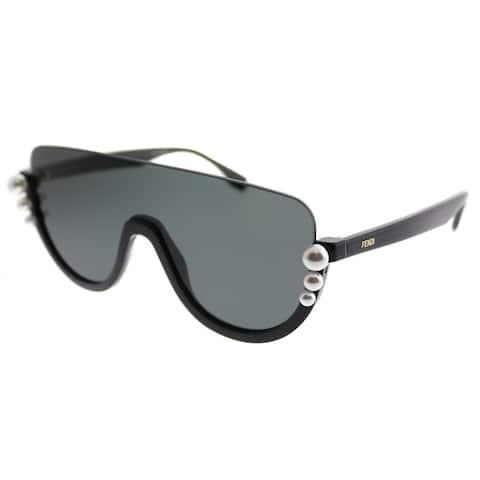 925b853928 Fendi Shield FF 0296 Ribbons And Pearls 807 IR Women Black Frame Grey Lens  Sunglasses