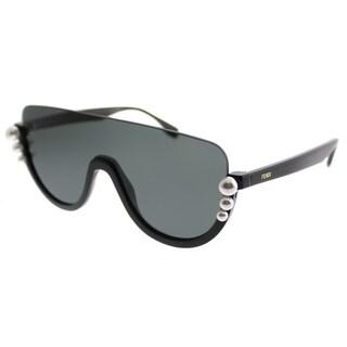Fendi Shield FF 0296 Ribbons And Pearls 807_IR Women Black Frame Grey Lens Sunglasses