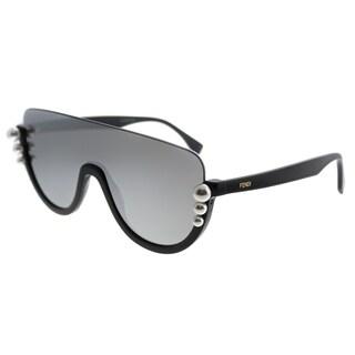 Fendi Shield FF 0296 Ribbons And Pearls KB7 0T Women Grey Frame Silver Mirror Lens Sunglasses