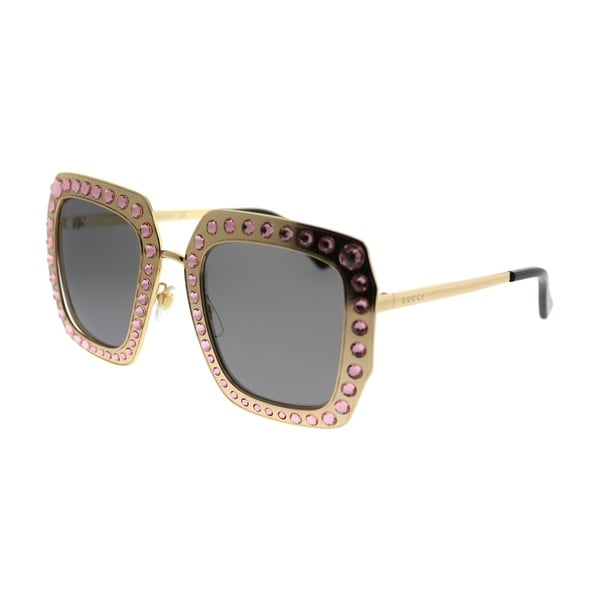 5a61e00404 Gucci Square GG 0115S 003 Women Gold Pink Crystals Frame Gold Mirror Lens  Sunglasses