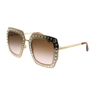Gucci Square GG 0115S 002 Women Gold Crystals Frame Brown Gradient Lens Sunglasses