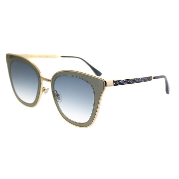 9e443193865 Jimmy Choo Cat-Eye JC Lory KY2 Women Blue Gold Frame Blue Mirror Gradient  Lens