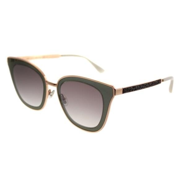 ca0e3f8fdeb Jimmy Choo Cat-Eye JC Lory YK9 Women Burgundy Copper Gold Frame Brown  Mirror Gradient