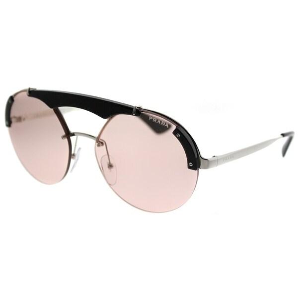 7ceacdb2dce Prada Round PR 52US Prada Ornate 1AB4Q0 Women Silver Black Frame Light Pink  Lens Sunglasses