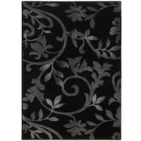 LR Home Grace Vines Black Indoor Area Rug - 9' x 12'