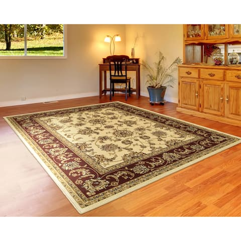 LR Home Grace Traditional Ivory / Red Area Rug ( 9 ft. x 12 ft. ) - 9' x 12'