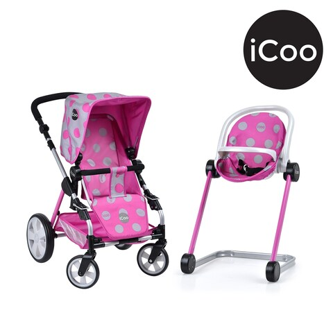 Icoo Grow With Me Doll Playset - Stroller/Bassinet & High Chair