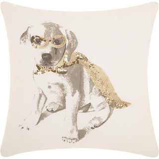 Mina Victory Trendy Glitter Superdog Gold Throw Pillow (18-Inch X 18-Inch)