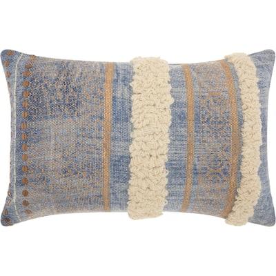 Mina Victory Metallic Texture Boho Blue Throw Pillow (16-Inch X 24-Inch)