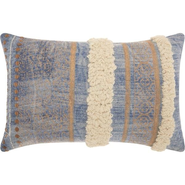 Shop Mina Victory Metallic Texture Boho Blue Throw Pillow