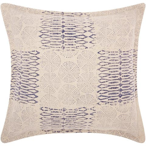 Mina Victory Patchwork Circles Indigo Throw Pillow (19-Inch X 19-Inch)