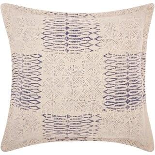 Mina Victory Patchwork Circles Indigo Throw Pillow (19-Inch X 19-Inch)