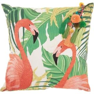 Mina Victory Royal Palm Tropical Flamingos Green Throw Pillow (20-Inch X 20-Inch)