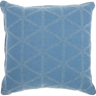 Mina Victory Distressed Geometric Triangles Denim Throw Pillow (18-Inch X 18-Inch)