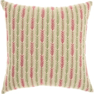 Mina Victory Trendy Embroidered Arrow Tails Natural Throw Pillow (18-Inch X 18-Inch)