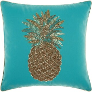Mina Victory Beaded Pineapple Turquoise Outdoor Throw Pillow