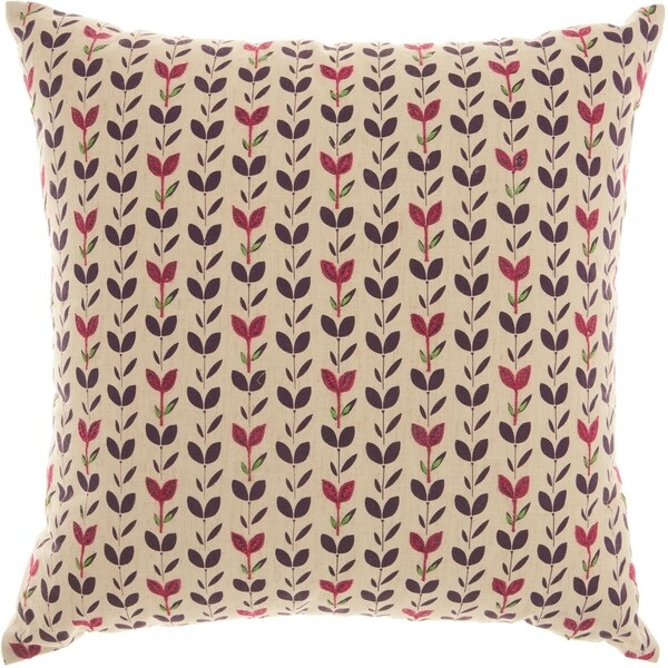 Mina Victory Trendy Embroidered Leaves Natural Throw Pillow (18-Inch X 18-Inch)