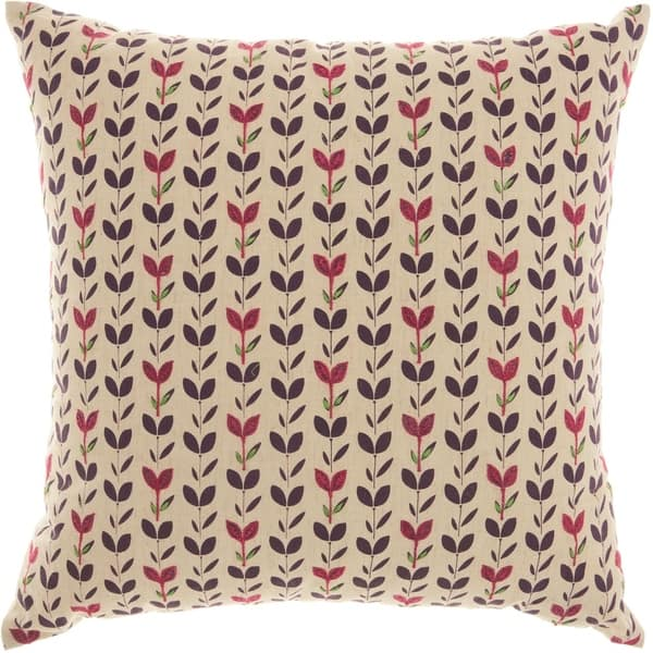 Mina Victory Trendy Embroidered Leaves Natural Throw Pillow 18 Inch X 18 Inch Overstock 20985590
