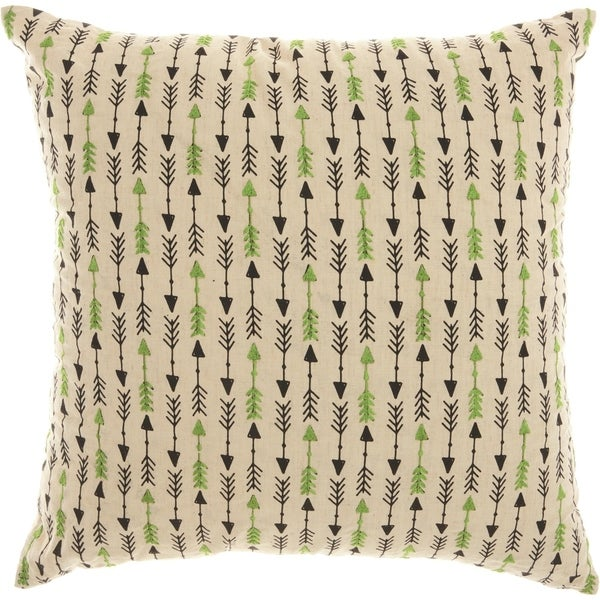 Mina Victory Trendy Embroidered Arrow Natural Throw Pillow (18-Inch X 18-Inch)