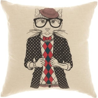 Mina Victory Trendy Trendy Cat Natural Throw Pillow (18-Inch X 18-Inch)