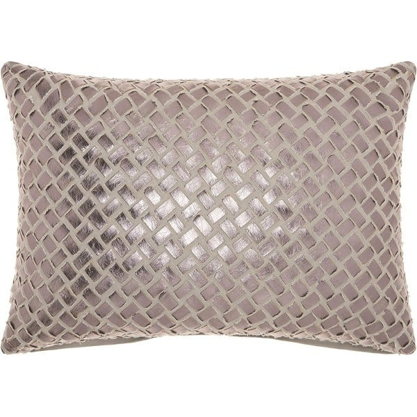 Mina Victory Trendy Woven Faux Leather Grey/Pewter Throw Pillow (14-Inch X 20-Inch)