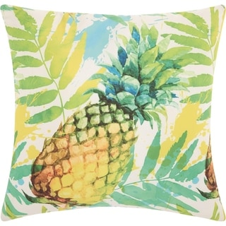 Mina Victory Watercolor Pineapple Multicolor Outdoor Throw Pillow (20-Inch X 20-Inch)
