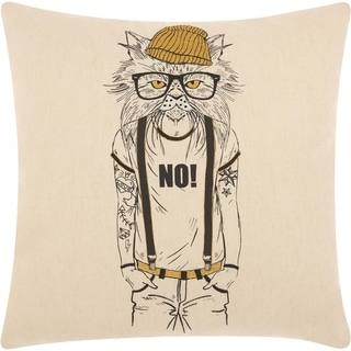 Mina Victory Trendy Tattooed Cat Natural Throw Pillow (18-Inch X 18-Inch)