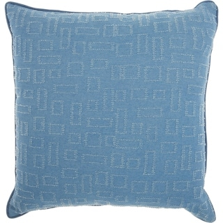 Mina Victory Distressed Rectangle Denim Throw Pillow (18-Inch X 18-Inch)