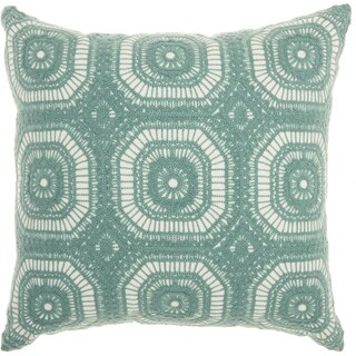 Mina Victory Crochet Tiles Celadon Throw Pillow (18-Inch X 18-Inch)