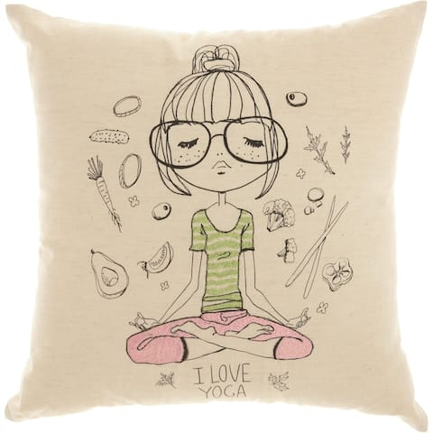 Mina Victory Trendy Yoga Dreams Natural Throw Pillow (18-Inch X 18-Inch)