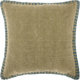 Mina Victory Stitched Border Green Throw Pillow (20-Inch X 20-Inch)