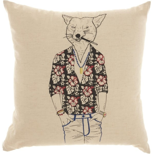 Mina Victory Trendy Tropical Fox Natural Throw Pillow (18-Inch X 18-Inch)