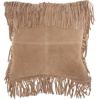 Mina Victory Fringe Borders Beige Throw Pillow