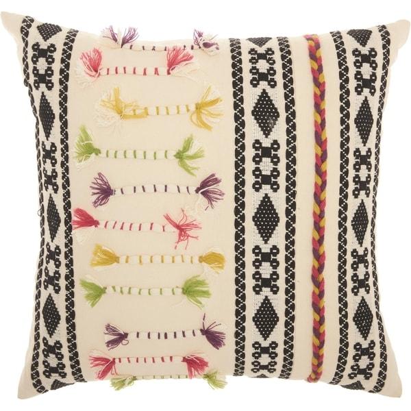 Mina Victory Textured Patterns Cream Throw Pillow (18-Inch X 18-Inch)