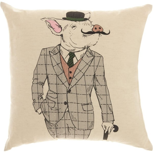 Mina Victory Trendy Mustache Pig Natural Throw Pillow (18-Inch X 18-Inch)