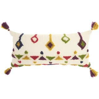 Mina Victory Textured Designs Multicolor Throw Pillow (14-Inch X 30-Inch)