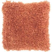 Mina Victory Short Cut Deep Coral Shag Throw Pillow (17-Inch X 17-Inch)
