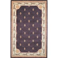 KAS Jewel Grape Fleur-De-Lis Rug - 2'6 x 4'2