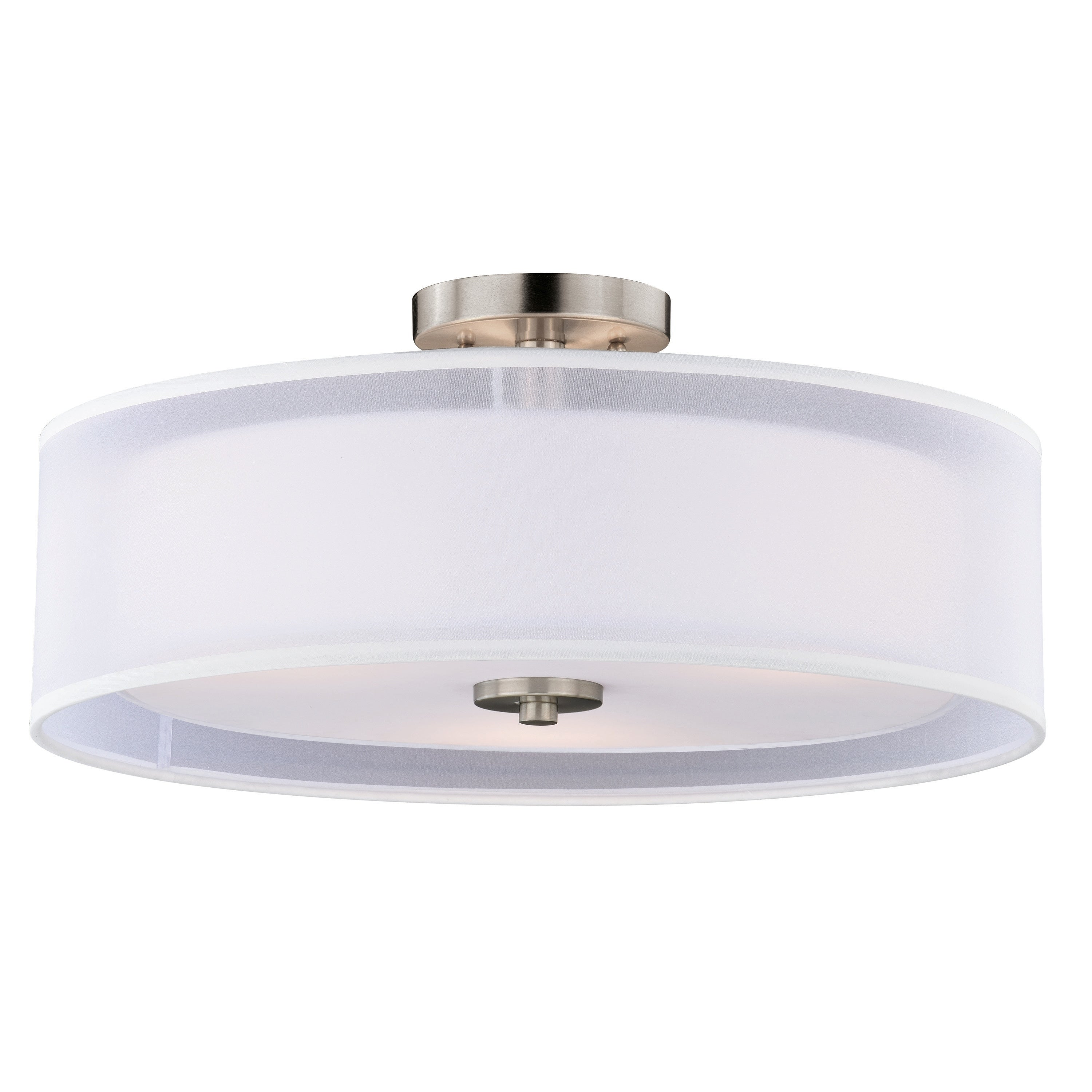 Image of: Shop Black Friday Deals On Nuage 18 In W Satin Nickel Mid Century Modern Drum Semi Flush Mount Ceiling Light White Fabric 18 In W X 8 In H X 18 In D Overstock 20985759
