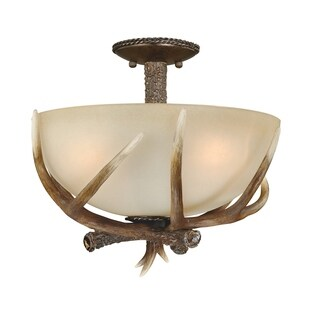 "Vaxcel Yoho 16"" Semi-Flush Mount Black Walnut"