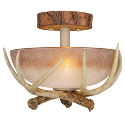 Lodge 12-in W Cream Rustic Antler Bowl Semi Flush Mount Ceiling Light Cream Glass - 12-in W x 9-in H x 12-in D