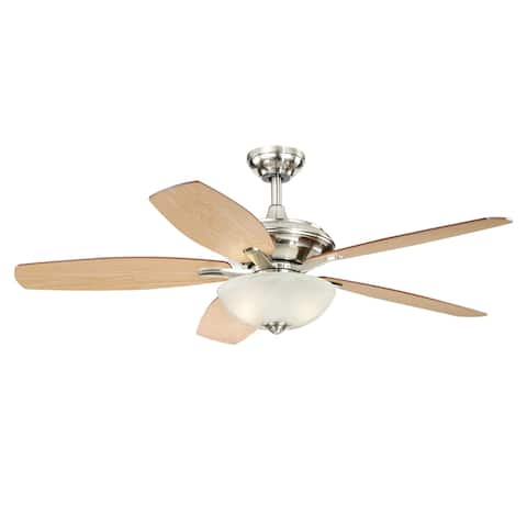 Valencia 52-in Satin Nickel Ceiling Fan with LED Light Kit - 52-in W x 19-in H x 52-in D